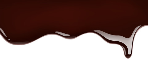 Melted chocolate leaking on white background realistic illustration
