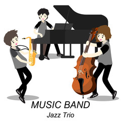 Musicians Jazz Trio ,Play Saxophone,bassist ,Piano, .Jazz band.Vector illustration isolated on background in cartoon style