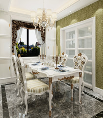 Interior dining room in a classic style 3d illustration