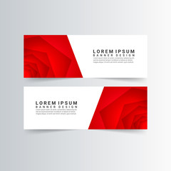 modern banners with red rose shapes