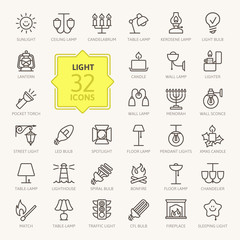Lights web icon set - outline icon set, vector, thin line icons collection