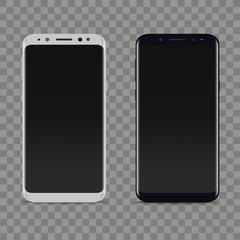 Realistic white and black smartphone on transparent background. Vector