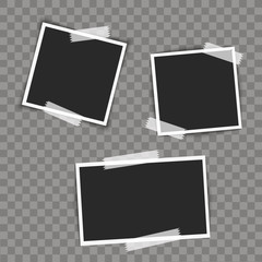 Photo frames with sticky on transparent background. Vector illustration.