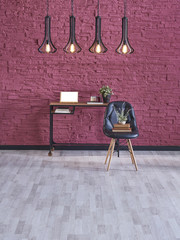 decorative desk and home office decoration claret red wall