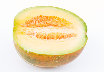 Part of a ripe Musk Melon.Musk Melon is a fruit that is native to South Asia,which is grown in the foothills of the Himalaya.