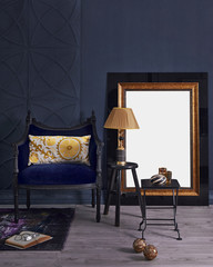 dark blur room black chair and decorative mirror style with lamp