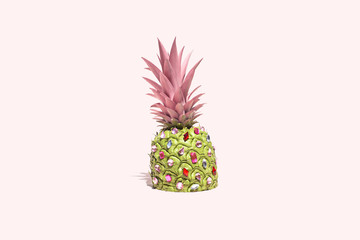 Pineapple on Pink Background