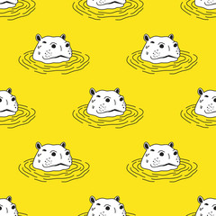 Hippo hippopotamus Seamless Pattern Vector wallpaper background yellow