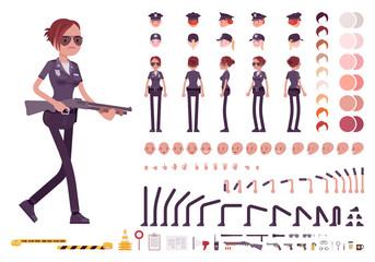 Young policewoman character creation set