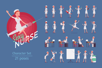 Sexy nurse ready-to-use Pin Up character set