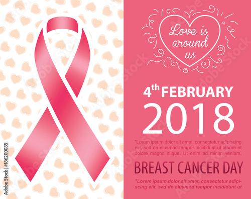 b775b7c60a2 Breast cancer day card design. Pink ribbon on beautiful pattern ...