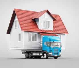 Trasloco, casa su camion prefabbricata