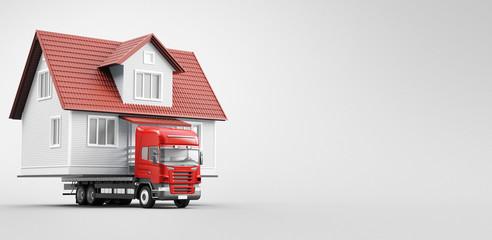 Casa prefabbricata su camion, trasloco, spostamento