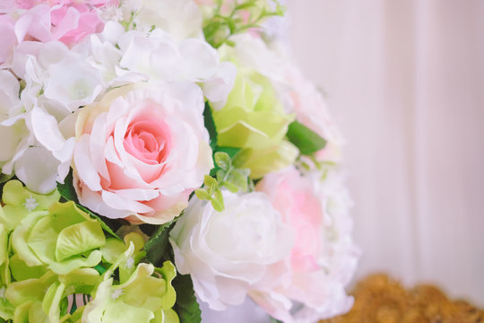 Bouquet of artificial flowers on ceremony day and new year