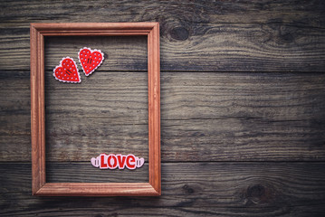 Picture to Valentines Day with frame and hearts