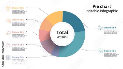 Business Pie Chart Infographics With Editable Segments Ceirlce