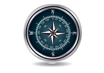 Compass - chrome-plated - isolated on white background - vector art illustration