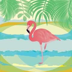 Flamingo pink - abstract landscape - palm branches - art-creative modern vector illustration