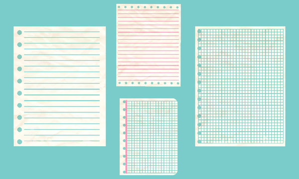 Crumpled old paper - Sheets in a cage and ruler - isolated on white background - vector art illustration