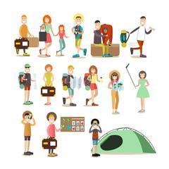 Tourist people vector flat icon set
