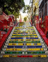Escadaria Selaron - stairway in Lapa district in Rio de Janeiro, Brazil