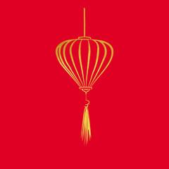 Chinese paper cutting motif chinese lantern. Vector illustration