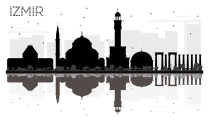 Izmir Turkey City Skyline Black and White Silhouette with Reflections.