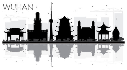 Wuhan China City Skyline Black and White Silhouette with Reflections.