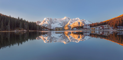 Lake Misurina with reflection of clear sky