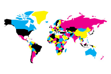 Wall Mural - Political map of World. Simplified vector map in CMYK colors.