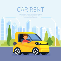 Car rental poster concept. Cartoon-style vector young man on blue car on pastoral background. Automobile rent poster illustration