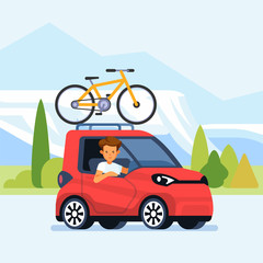 Modern car with bicycle mounted on the roof rack. Flat style vector illustration