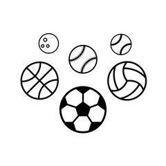 Sport balls on white background. Illustration stok vector.