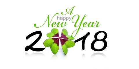 Neujahrskarte mit Kleeblatt