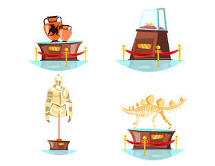 Museum exhibits on white background