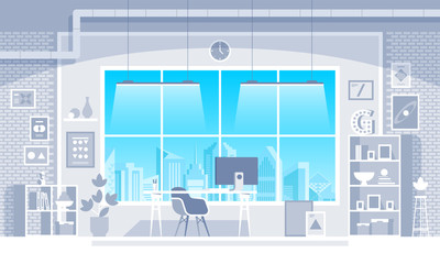 Office interior creative modern workplaces Vector illustration