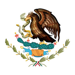 mexican flag emblem of colorful silhouette of eagle with rattlesnake in peak over plant of cactus