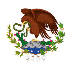mexican flag emblem of colorful silhouette of eagle with snake in peak over rock and plant of cactus