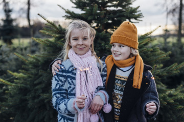 Boy and girl holding sparkler in front of fir trees