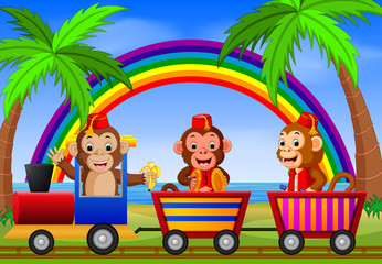 Monkey on the train with rainbow illustration