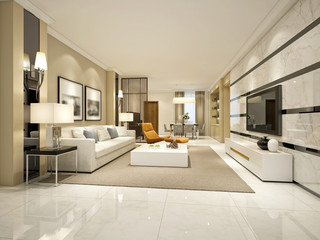 3d render of living room, luxury hotel room.