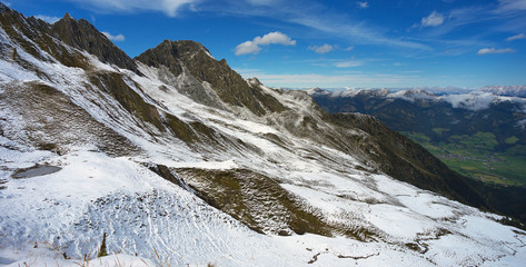 Mountain landscape covered with a first snow, Hohe Tauern, Austria