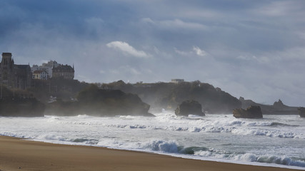 early storm on the beach of Biarritz, France