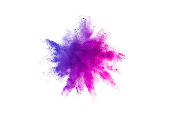 Multicolor powder explosion on white background. Colored cloud. Colorful dust explode. Paint Holi. Wall mural