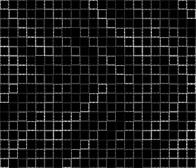 Black and wite gray stroke of squares on a black background.  Light on dark. Square texture. Grid abstract.