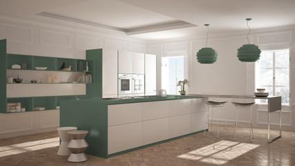 Modern kitchen furniture in classic room, old parquet, minimalist architecture, white and green interior design