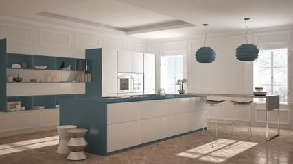 Modern kitchen furniture in classic room, old parquet, minimalist architecture, white and blue interior design