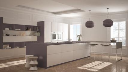 Modern kitchen furniture in classic room, old parquet, minimalist architecture, white and purple interior design