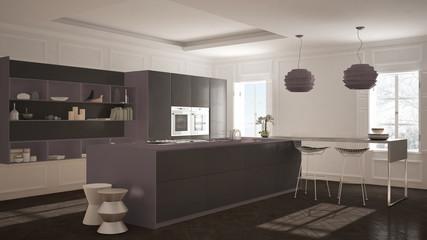 Modern kitchen furniture in classic room, old parquet, minimalist architecture, gray and purple interior design