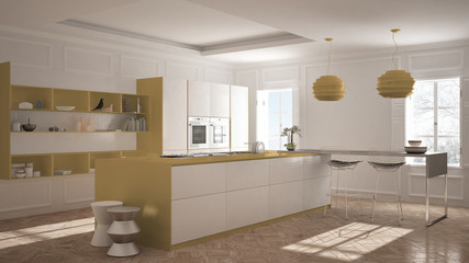 Modern kitchen furniture in classic room, old parquet, minimalist architecture, white and orange interior design